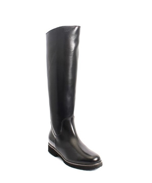 Black Leather / Patent Sheepskin Knee High Boots