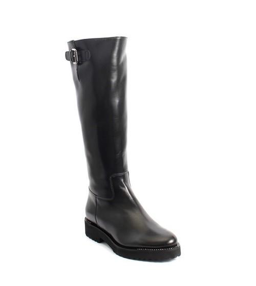 Black Leather Sheepskin Fur Knee High Boots