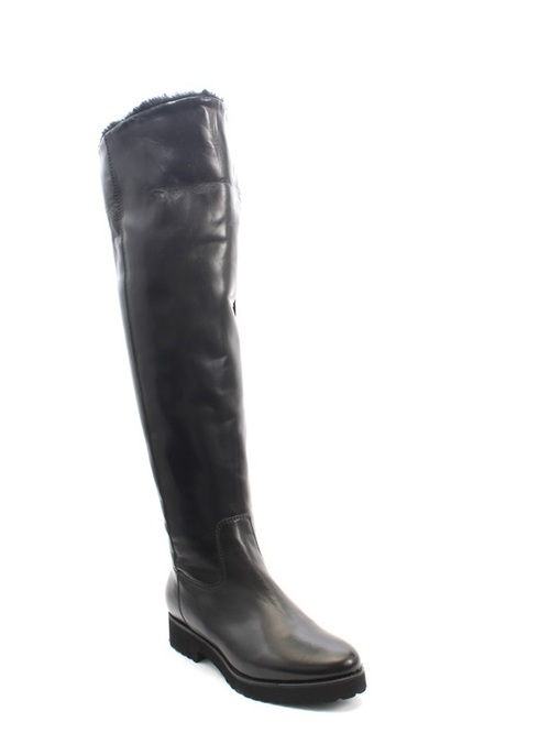 Black Leather Sheepskin Fur Over-the-Knee Boots