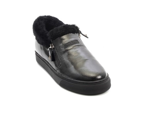 Black Patent Leather Sheepskin Zip Loafers