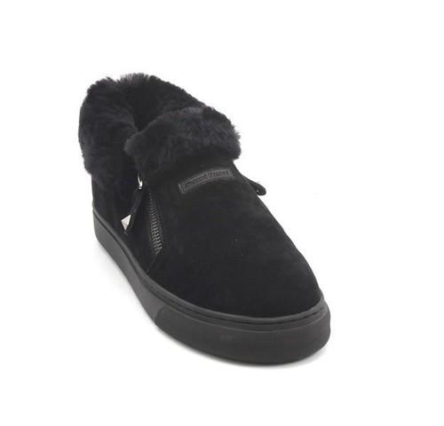 Black Suede Sheepskin Zip Loafers