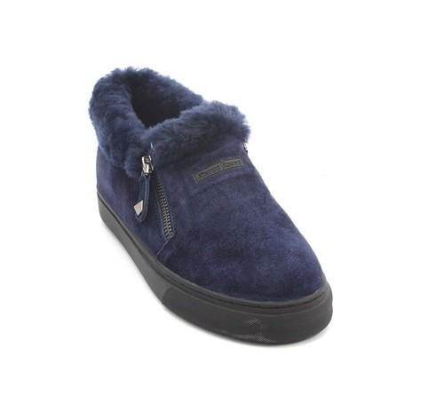 Navy Suede Sheepskin Zip Loafers