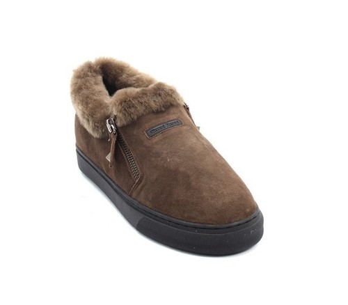 Taupe Suede Sheepskin Zip Loafers