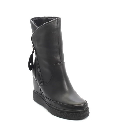 Black Leather Sheepskin Wedge Ankle Boots