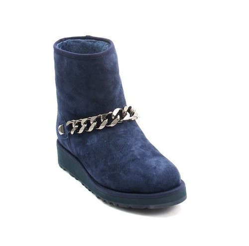 Navy Suede Sheepskin Ankle Boots