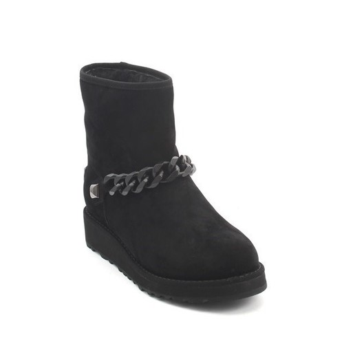 Black Suede Sheepskin Ankle Boots