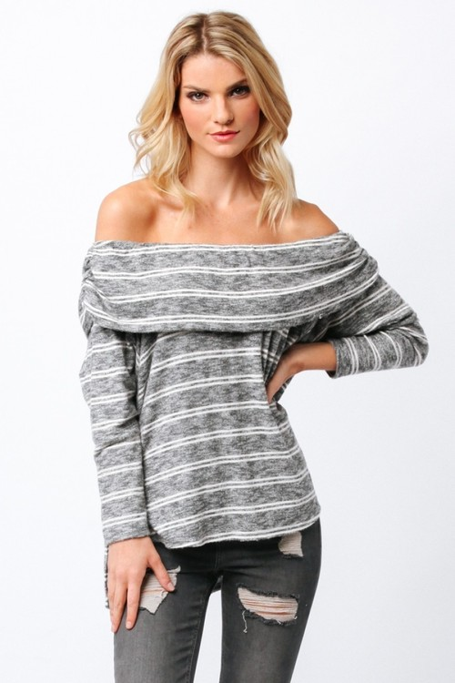Long Sleeve Stripe Off Shoulder Soft Top