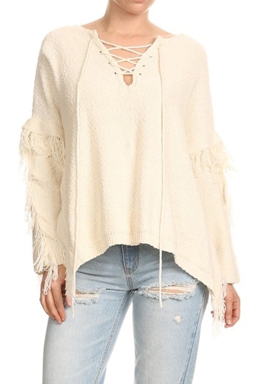 Front Lace Up Fringe Sweater