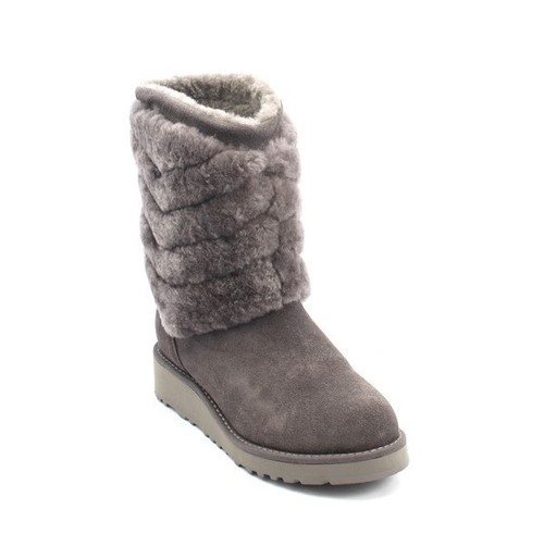 Gray Suede Sheepskin Mid-Calf Boots
