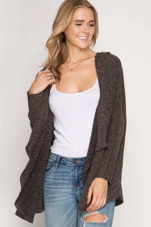 Batwing Hooded Cardigan Sweater