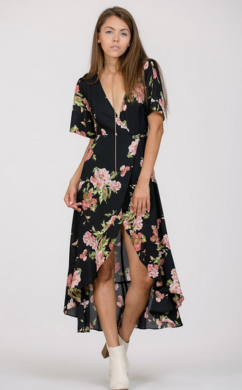 Floral Wrap Dress with Slit