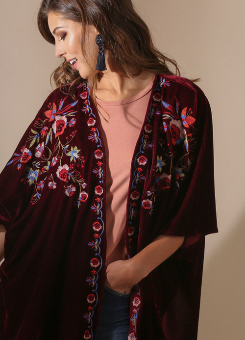 Embroidered Velvet Kimono