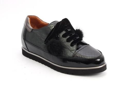 Green Black Patent / Leather Wedge Fur POM-POM Loafer