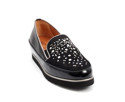 Black Leather / Patent / Suede Wedge Loafers Shoes