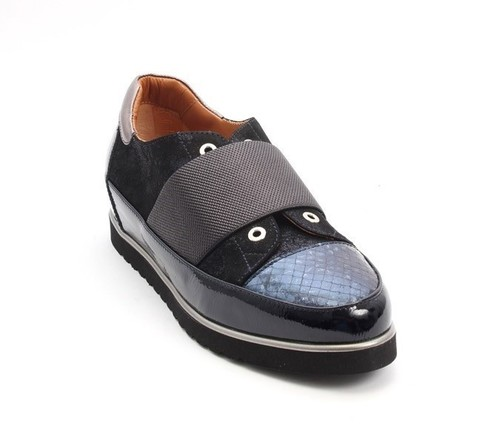 Navy Patent Leather / Suede / Leather Wedge Loafers