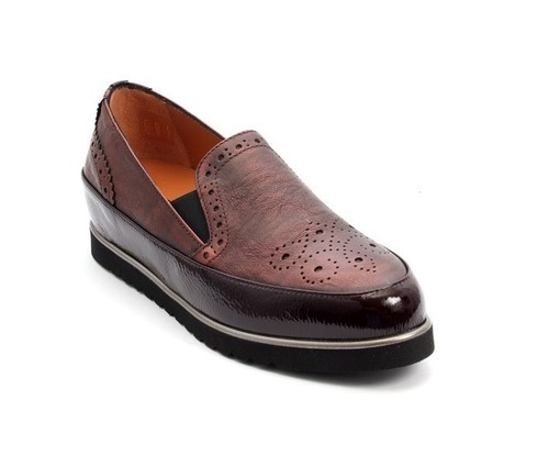 Burgundy Leather / Patent Leather Wedge Loafers Shoes