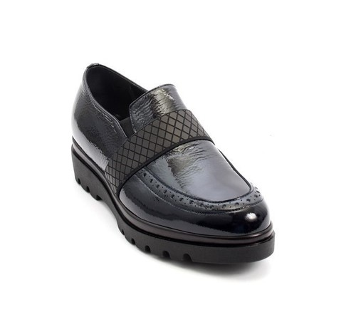 Navy Patent Leather Elastic Wedge Loafers