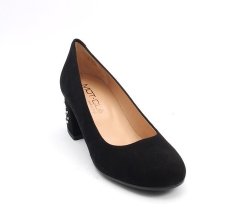 Black Suede Round Toe Block Studded Heel Pumps