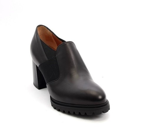 Black Leather / Elastic Comfort Heel Shoes
