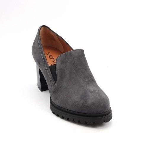 Gray Suede / Elastic Comfort Heel Shoes
