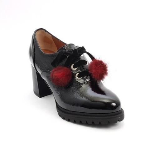 Black Patent Leather Lace-Up Fur Pom-Pom Loafers