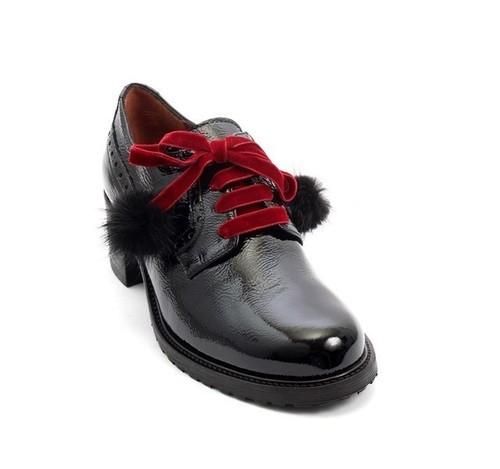 Black Patent Leather Burgundy Lace Fur Pom-Pom Loafers