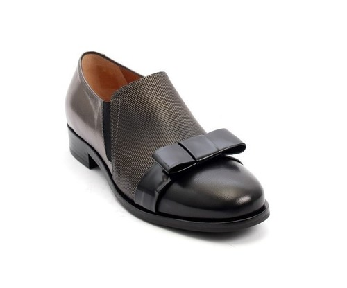 Black / Bronze Leather / Bow Loafers Shoes