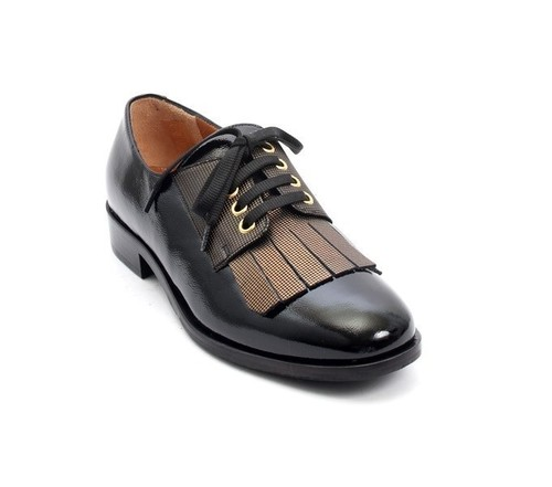 Black / Gold Patent Leather Fringe Lace-Up Loafers