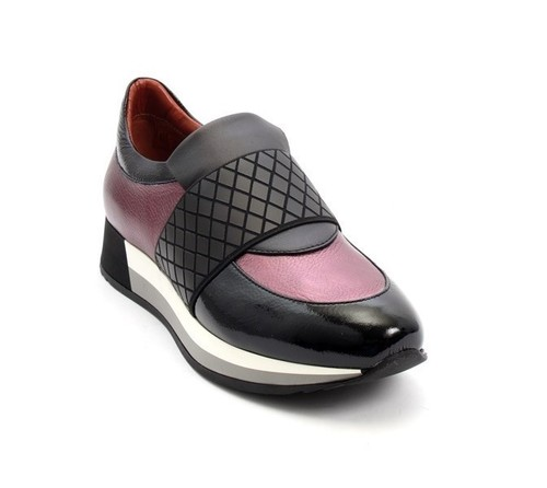 Multi-Color Leather / Patent Wedge Fashion Sneakers