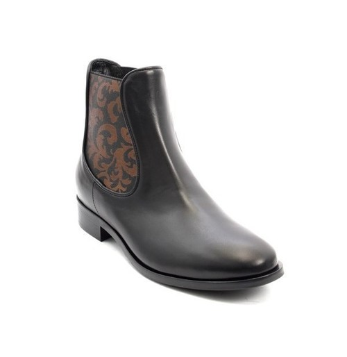 Black / Bronze Leather Pull-On Ankle Boots