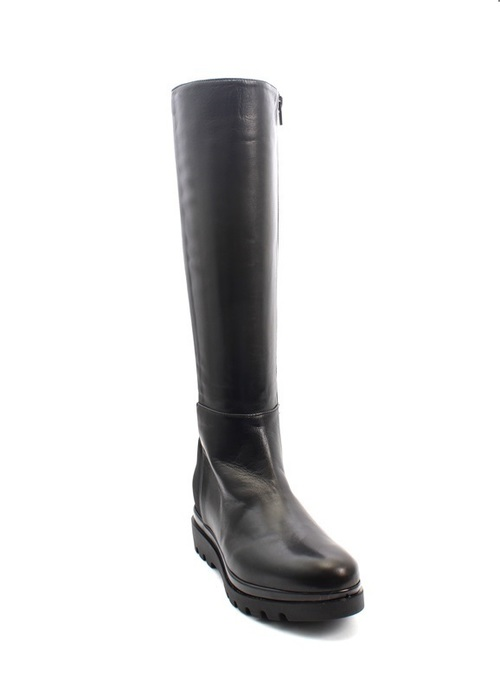 Black Leather / Stretch Knee-High Side-Zip Wedge Boots