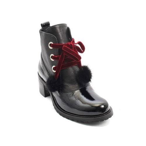 Black Leather Burgundy Lace Fur Pom-Pom Ankle Boots