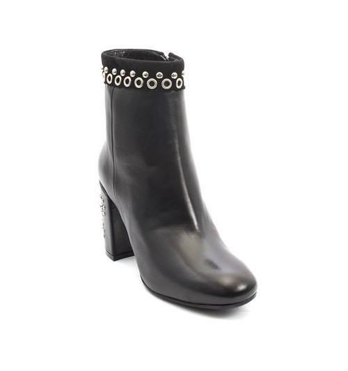 Black Leather Studded Zip-Up Heels Ankle Boots