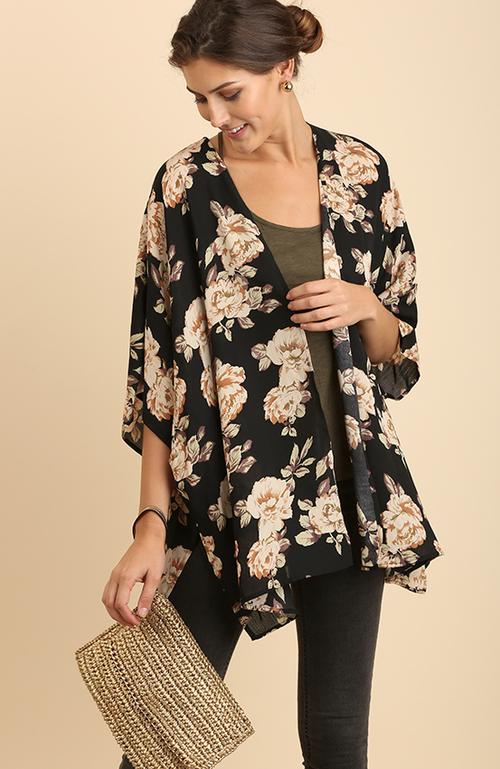 3/4 Sleeve Floral Print Kimono
