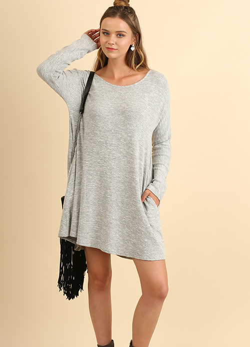 Scoop Neck Pocket Dress