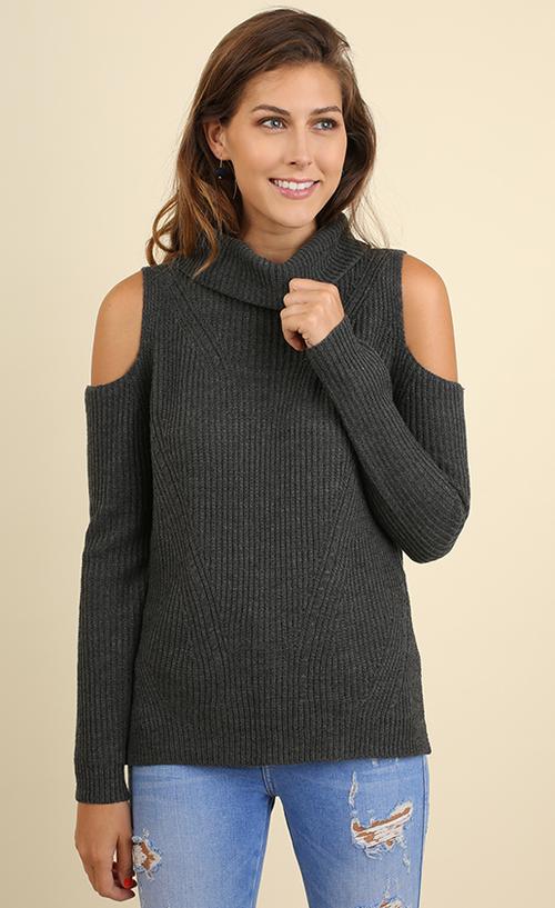 Cold Shoulder Turtleneck Knit Sweater
