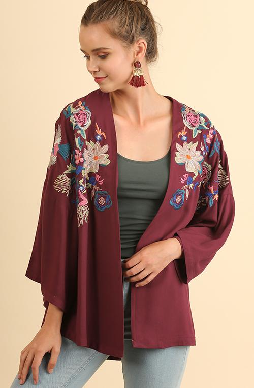 3/4 Sleeve Open Kimono w/ Floral Emb.