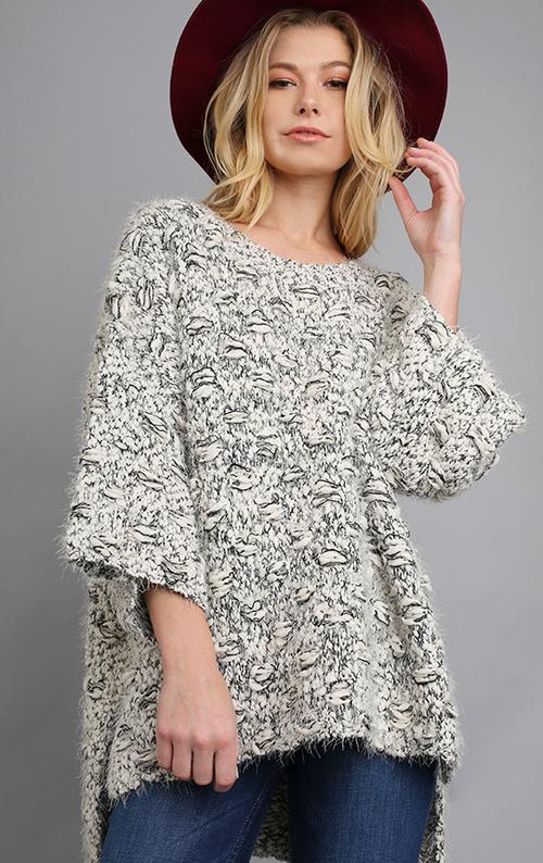 3/4 Sleeve Sweater w/ High Low Hemline