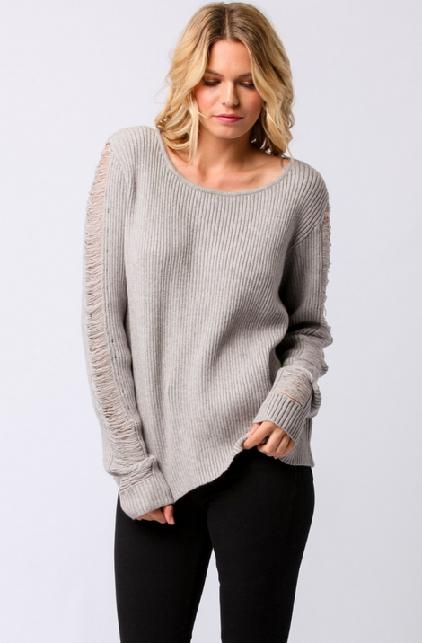 Ribbed Sweater w Vented Fringe Sleeve Sweater