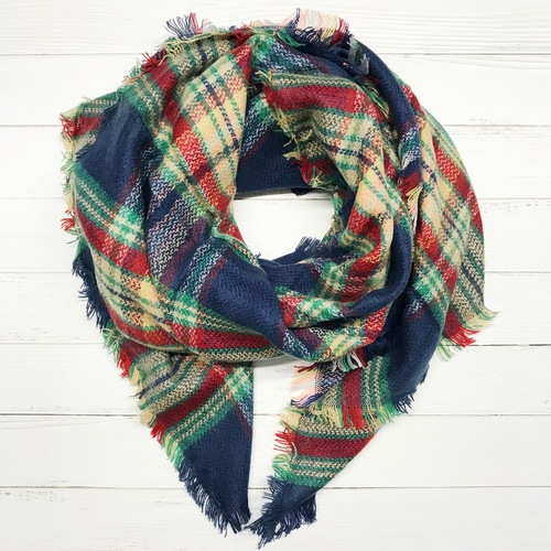 Red/Blue Plaid Blanket Scarf