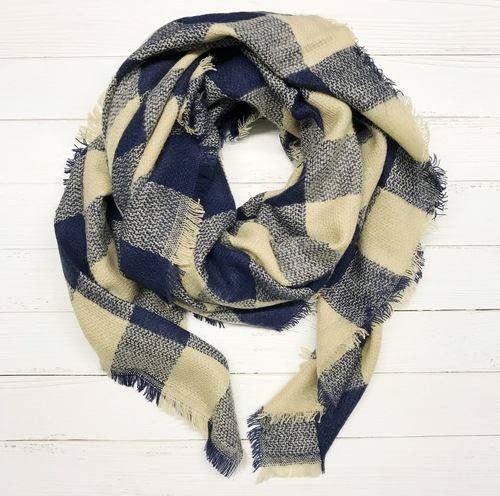 Navy & Beige Plaid Blanket Scarf