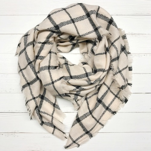 Black & Beige Plaid Blanket Scarf