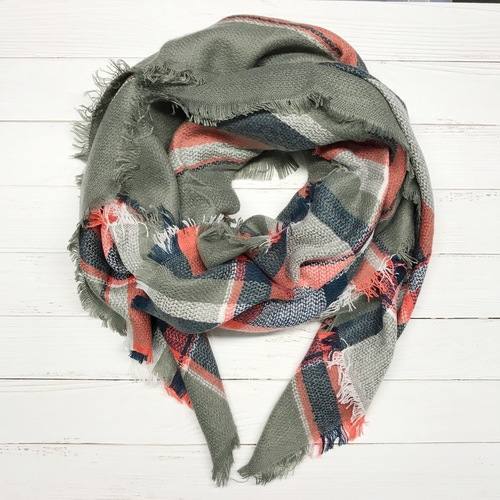 Coral & Navy Plaid Blanket Scarf