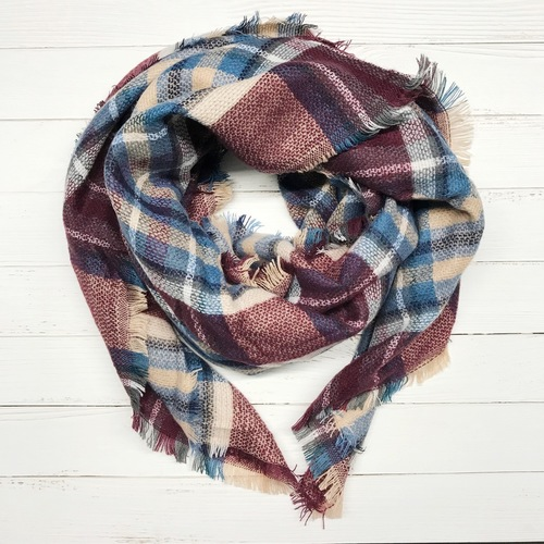 Wine Plaid Blanket Scarf