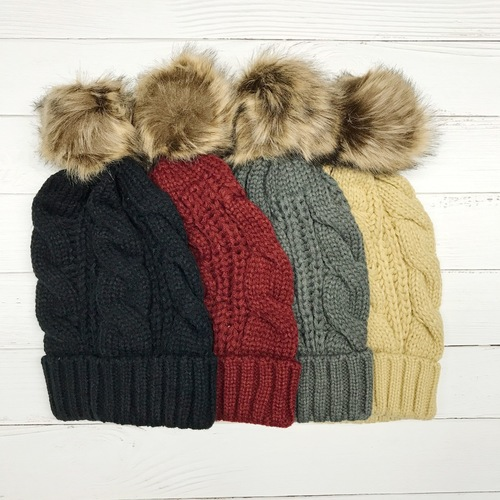 Twist Braid Pom Beanie