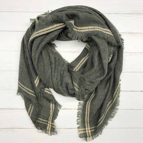 Greenish w Stripe Blanket Scarf