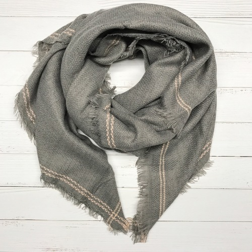 Grey w Stripe Blanket Scarf