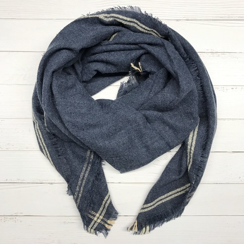 Navy w Stripe Blanket Scarf