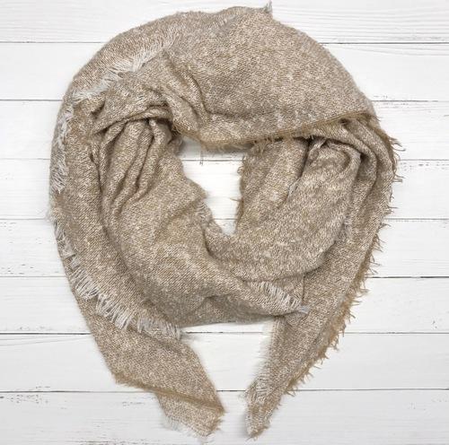 Beige Woven Blanket Scarf