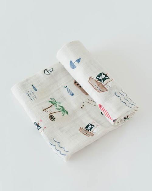 Treasure Map Muslin Swaddle Blanket
